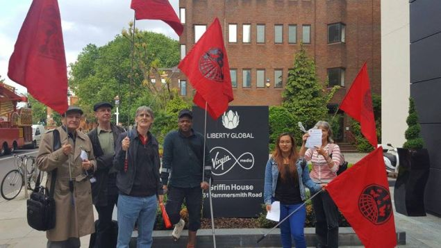 IWW pickets at the Liberty Global-Virgin Media offices